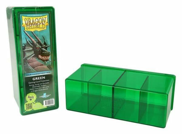 Dragon Shield four compartment box in green ideal for Magic The Gathering and Pokemon card storage